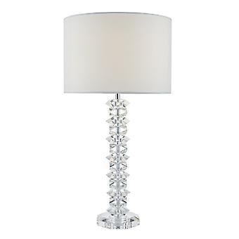 Mina tafel lamp gepolijst chroom & Crystal C/w crème katoen schaduw