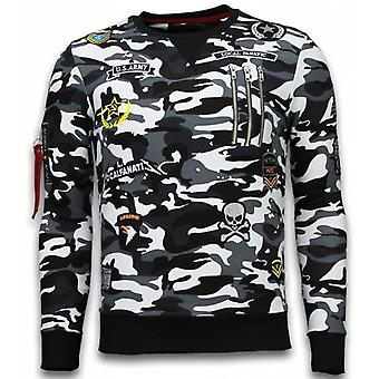 Exclusive Camo Embroidery-sweatshirt Patches-Black