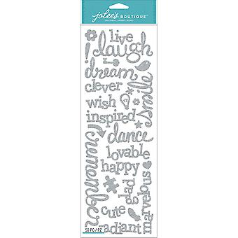 Jolee's Boutique Stickers Laugh & Love Silver Glitter Words E5030194