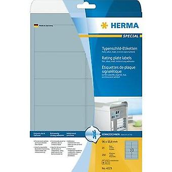 HERMA Rating plate labels A4 96x50.8 mm silver extra strong adhesion film matt 250 pcs. Herma Typenschild-Etiketten