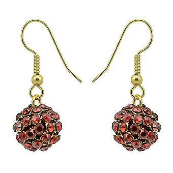 Red Magma Crystal Mesh Ball Earrings EMB112.11