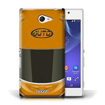 STUFF4 Case/Cover for Sony Xperia M2/Superbike/Orange/Motorcycle Helmet