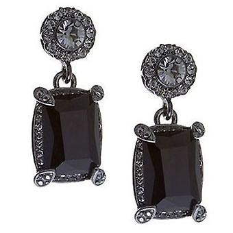 Butler and Wilson Oblong Jet Crystal Drop Earrings