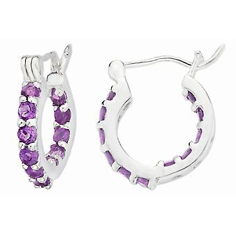 Affici Sterling Silver Creole Earrings 18ct White Gold Plated with Amethyst CZ Gems