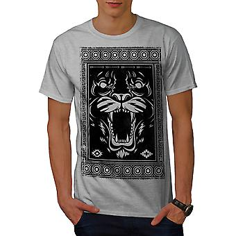 Face Beast Animal Fashion Men Grey T-shirt | Wellcoda