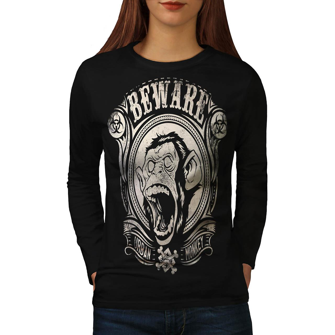 Beware Urban Monkey Danger Chimp Women Black Long Sleeve T-shirt | Wellcoda