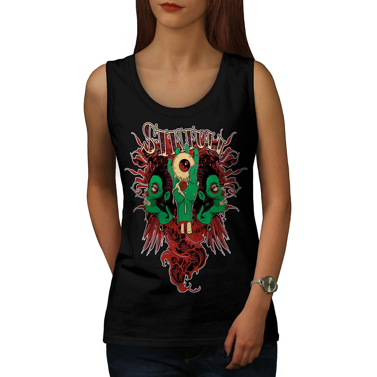 Sinful Monster Head Devil Eye Women Black Tank Top | Wellcoda