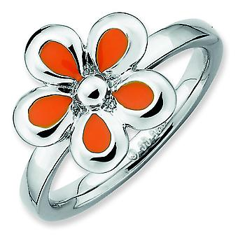 Sterling Silver Stackable Expressions Polished Orange Enameled Flower Ring - Ring Size: 5 to 10