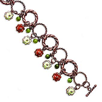 Toggle Closure Copper-tone Orange and Ivory Enamel Green Beads 7inch Bracelet - 34.0 Grams