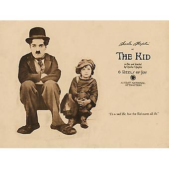 Gutt Lobbycard fra venstre Charles Chaplin Jackie Coogan 1921 film plakat Masterprint