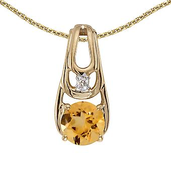 10k Yellow Gold Round Citrine And Diamond Pendant with 16