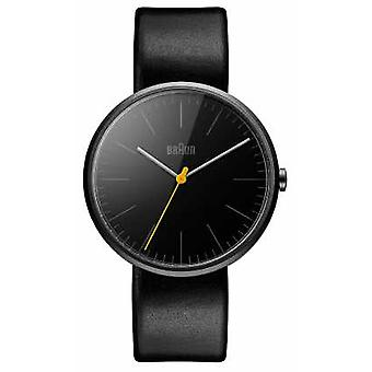 Braun Mens Slim Black Leather Strap BN0172BKBKG Watch