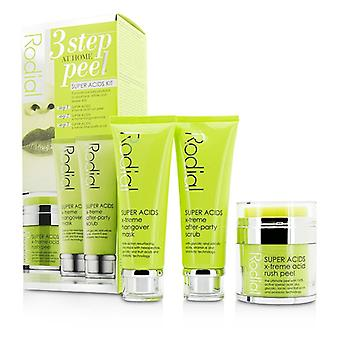 Rodial ácidos Super Kit - 3 paso a Home Peel: Piel 50ml / 1.7 oz + mascarilla 75 ml / 2.5 oz + exfoliante 75 ml / 2.5 oz 3pcs