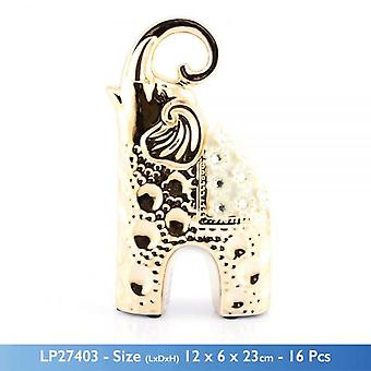 GOLD MILLE SYLISH CERAMIC ELEPHANT FIGURINE WITH FLOWERS DESIGN AND STONES