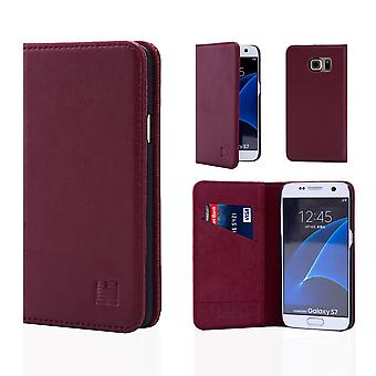 32nd Classic Real Leather Wallet for Samsung Galaxy S7 G930 - Burgundy