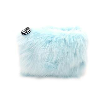 W7 Baby Blue Fluffy/Furry Small Cosmetic Toiletry Make Up Bag