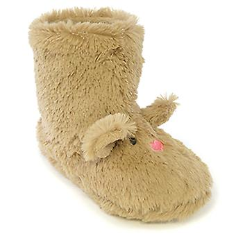 SlumberzzZ Girls 3D Mouse Face With Ears Novelty Fluffy Boot Slippers FT566M