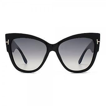 Tom Ford Anoushka Sunglasses In Shiny Black