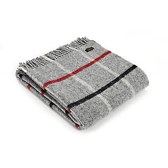 Tweedmill Pure New Wool Windowpane Check Throw - Grey/Black/Red