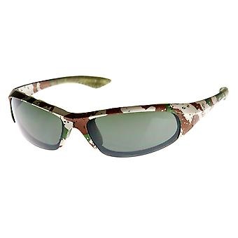 Military Print Camouflage Active Sports Wrap Sunglasses