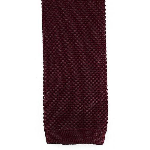 David Van Hagen Plain Knitted Tie - Wine