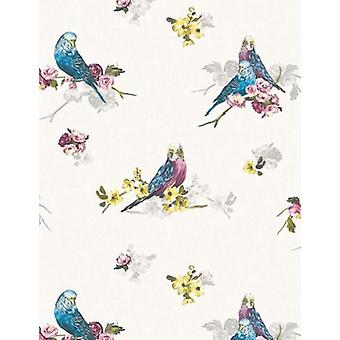 Birds Wallpaper Budgie Animals Flowers Floral White Grey Blue Multi Coloured
