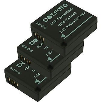 3 x Dot.Foto Panasonic DMW-BLE9, DMW-BLE9E, DMW-BLG10, DMW-BLG10E batteri