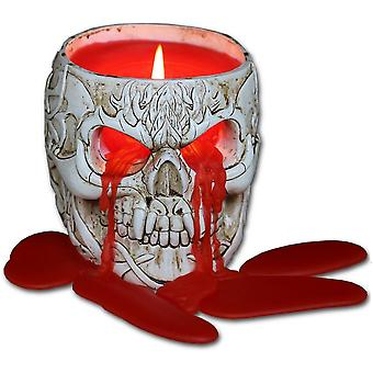 Spiral - goth skull - resin candle holder with wax candle - lavender scented