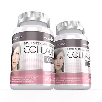 Hydrolysed Collagen High Strength 1,000mg for Hair, Skin and Nails + Vitamin C - 120 Tablets - Skin and Joint Health - Evolution Slimming
