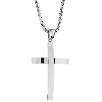 Iced out stainless steel pendant necklace - cross silver