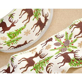 Festive Stag Wired Edge Christmas Craft Ribbon - 60mm x 10m