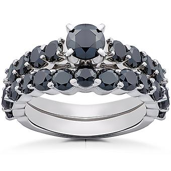 2 ct Black Diamond Engagement & Wedding Ring Set 14K White Gold