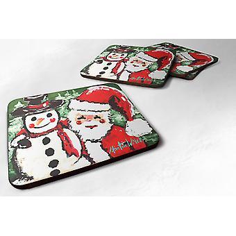 Set of 4 Friends Snowman and Santa Claus Foam Coasters