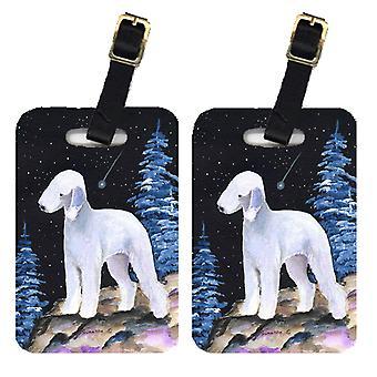 Carolines Treasures  SS8455BT Starry Night Bedlington Terrier Luggage Tags Pair