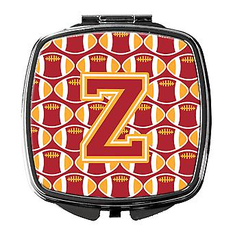 Letter Z Football Cardinal and Gold Compact Mirror