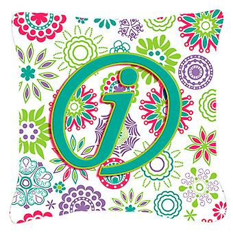 Letter J Flowers Pink Teal Green Initial Canvas Fabric Decorative Pillow