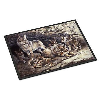 Wolf Wolves by the Den Indoor or Outdoor Mat 18x27