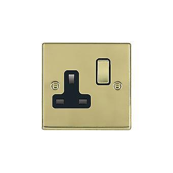 Hamilton Litestat Hartland Polished Brass 1g 13A DP Switched Socket PB/BL