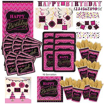 Happy birthday pink party set XL 107-teilig for 8 guests decoration Kit party box