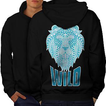 Lion Beast Wild Animal Men BlackHoodie Back   Wellcoda