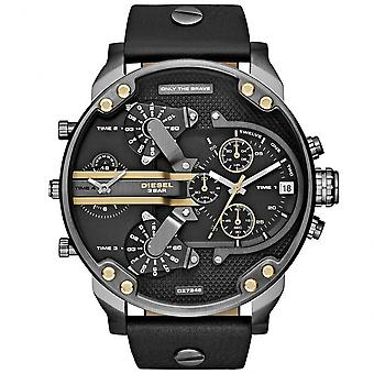 Diesel Dz7348 Mr Daddy 2.0 Gold & Black Leather Chronograph Men's Watch