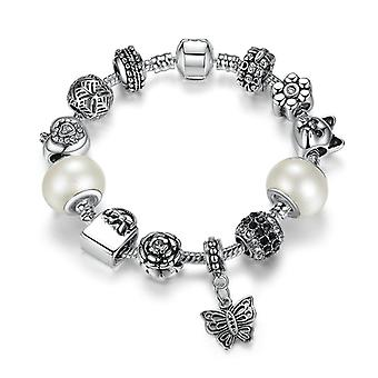 Silver Plated Snake Bracelet With Charms Pa1479