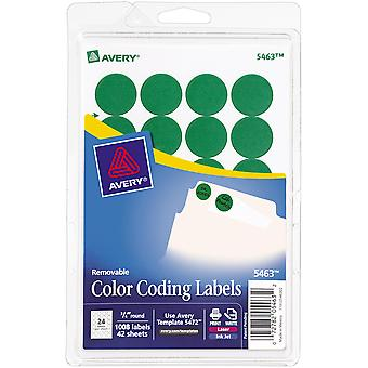 Avery Print/Write Self-Adhesive Removable Labels 1008/Pkg-Green, .75