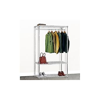 Wire Shelving with Single Clothes Rail and 3 Shelves