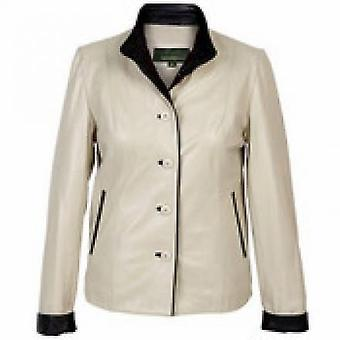 Womens White Leather Jacket With Contrast Cuffs & Collar