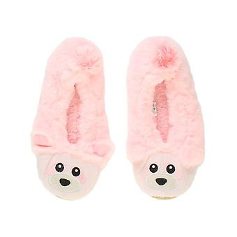 Ajvani womens elastic fleece lined cosy fur bear raccoon animal face grip slippers socks