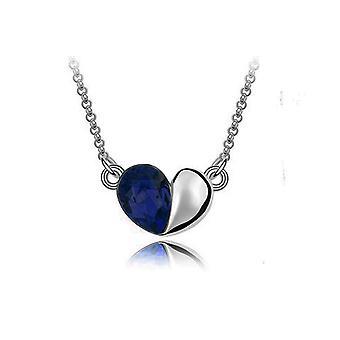 Dark Blue Love Heart Crystal Silver Jewellery Pendant Necklace BG1410