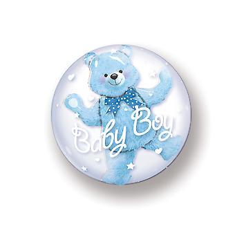 Dobbelt boble ballon i ballon dreng unge baby fødsel circa 60cm folie ballon
