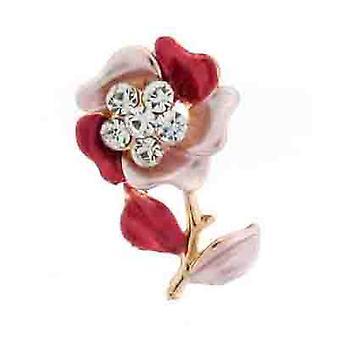 Brooches Store Petite Maroon Pink Enamel & Crystal Flower Lapel Pin Brooch