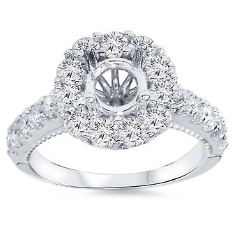 1ct Halo Diamond Engagement Ring instelling 14K White Gold